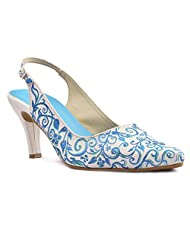 Wearmates Metallic Blue Pattern Designer Stilettos Heels