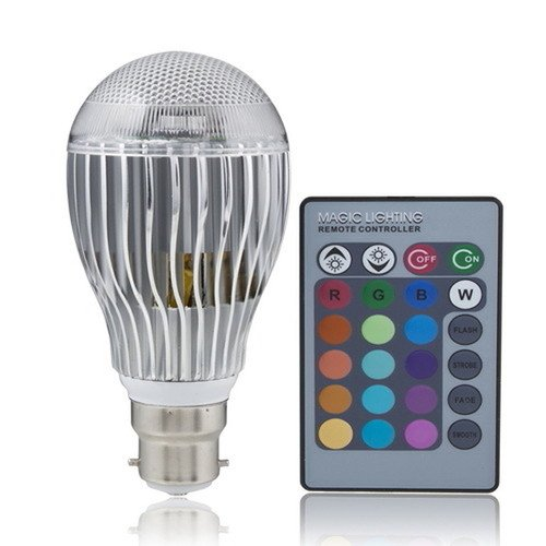 9W B22 100 -240V Remote Control Color Changing Led Light Bulb Rgb Color Lamp