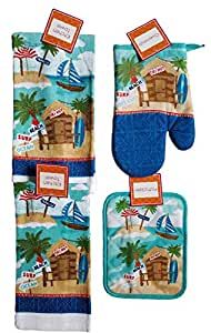 Summer kitchen towel and linen tiki hut and - Beach themed bathroom towel sets ...