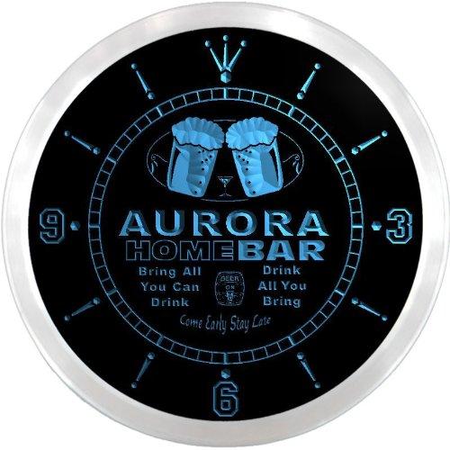 Ncp2162-B Aurora Home Bar Beer Pub Led Neon Sign Wall Clock
