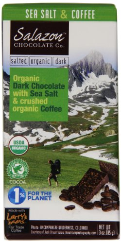 Salazon Organic Chocolate Bar, Dark Chocolate with Sea Salt & Crushed Coffee, 3 Ounce (Pack of 12) (Organic Trail Mix Snack Packs compare prices)
