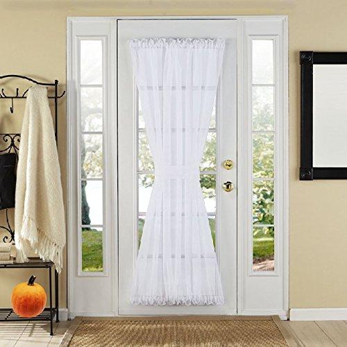 GoodGram Luxurious High Thread Sheer Voile Door Curtain Panel With Tie Back - Assorted Colors (White) (French Door Curtain White compare prices)