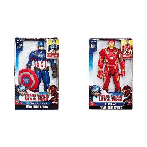 Capitan America - Personaggio Elettronico, 30 Cm + Capitan America - Iron Man Elettronico