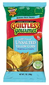 Guiltless Gourmet No Salt Yellow Corn Organic Baked Tortilla Chips, 7-Ounce Bags (Pack of 12)