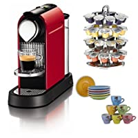 Nespresso CitiZ C110 Automatic Espresso Maker Fire Engine Red + Capsule Carousel + 2 Stoare Coffee Mugs by Nespresso