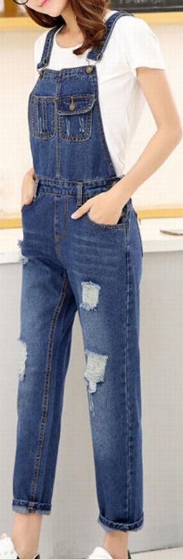 Yayu Women Fashion Denim Trousers Vintage Hole Overalls 2