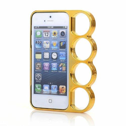 Leegoal(TM) Gold kreativ Herr der Ringe Maschine Cut Knöchel Stoßstange Hülle Case Schutzhülle Für Apple iPhone 5 5S Mit Zubehör Bildschirm Protector, Anti-Staub-Stecker