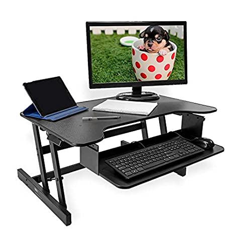 BACK - Escritorio de pie - Para ordenadores de mesa y portátiles - Altura regulable - Negro