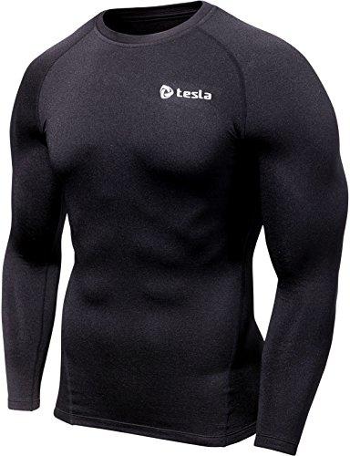 (Tesla) TESLA mens long sleeve long sleeve sports inner shirt UV cut and absorbing sweat drying price power stretch underwear [running/cycling/Tre - Corning/football/skiing/snowboarding/surfing/Golf] R11 (BLK, L)
