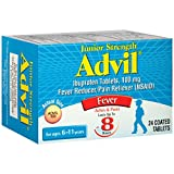 Advil Junior Strength (24 Count) Fever Reducer / Pain Reliever Coated Tablets, 100mg Ibuprofen (Pack of 2)