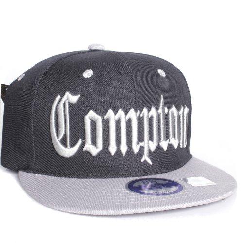 Compton Flat Bill Visor California Republic Adjustable Snapback - Black Gray
