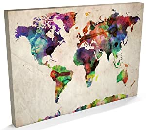 World Map Urban Watercolour Canvas Art Print, 22x34 inch (A1) - 749
