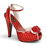 Pin Up Couture - Bettie Red Satin Polka Dot Ankle Strap Peep Toe Heels UK 8