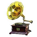 Benzara Wood Metal Gramophone Decor with Musical Blend by Benzara
