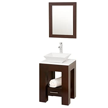Wyndham Collection Amanda 22 inch Single Bathroom Vanity in Espresso, White Man-Made Stone Countertop, Pyra White Porcelain Sink, and 22 inch Mirror