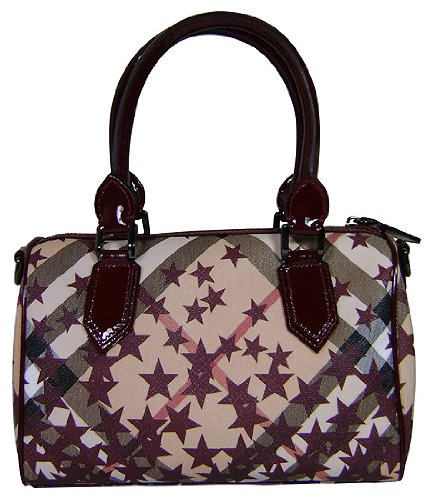 Burberry Chester Star Noval Check Print Satchel Bag Purse Tote Berry Red