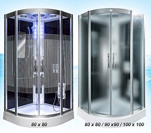 Dampfdusche Dusche Duschtempel Fertigdusche 80x80 90x90 100x100 AcquaVapore DTP8046 SW-SS-DF, EasyClean Versiegelung der Scheiben:2K Scheiben Versiegelung +89.-EUR;Abmessungen:XL / 100x100x225cm +60.-EUR
