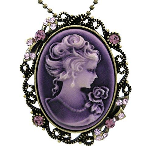 Dark-Lavender-Purple-Cameo-Pendant-Necklace-Charm-Pin-Brooch-Compatible