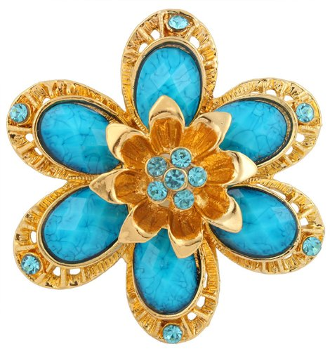3 Pieces of Ladies Gold  Blue Sunflower Petal