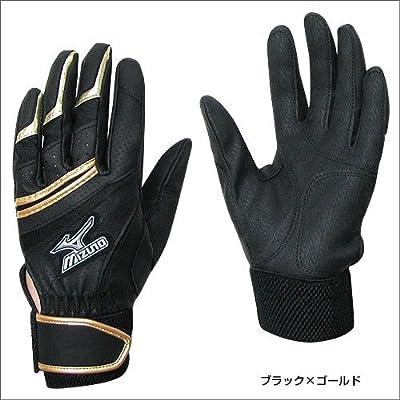 ミズノ(MIZUNO) 野球バッティンググラブ フランチャイズNS(少年左手 右打者用) ブラックXゴールド JrS (2EG37809)