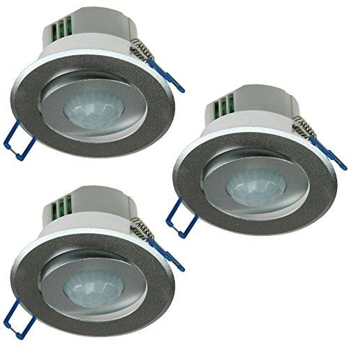 1-10x-Decken-Einbau-Bewegungsmelder-360-Alu-LED-geeignet-6m-schwenkbar-silber