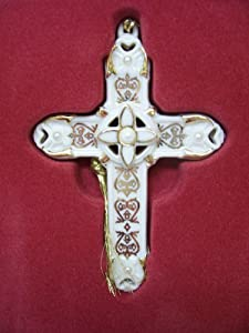 Lenox Florentine and Pearl Cross Christmas Tree Ornament