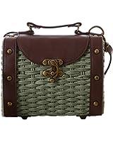 Tonwhar Baroque Style Retro Rivet Portable Small Box Woven Shoulder Messenger Bag