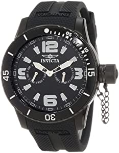 Invicta Men's 1794 Specialty Black Textured Dial Black Silicone Strap Watch