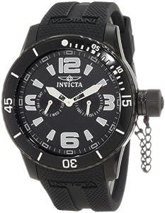 Invicta Men's 1794 Specialty Black Textured Dial Black Silicone Strap Watch