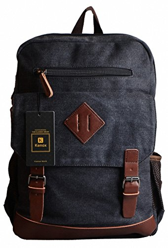 Kenox Mens Large Vintage Canvas Backpack School Laptop Bag Hiking Travel Rucksack 2