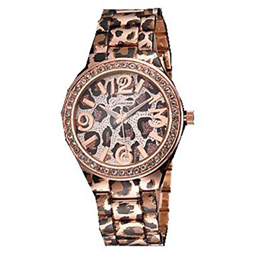 Soleasy Women'S Leopard Print Pattern Diamond Case Gold Alloy Band Quartz Wrist Watch(Rose Gold)Wth2817