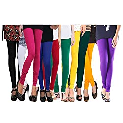 Rooliums Women's Cotton Lycra Leggings Combo (Pack of 10), 4 Way, 140 GSM - FREE SIZE