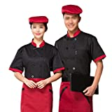 Nanxson(TM) Unisex Chef Kochjacke kurzärmerlige CFM0007 (XL, schwarz)