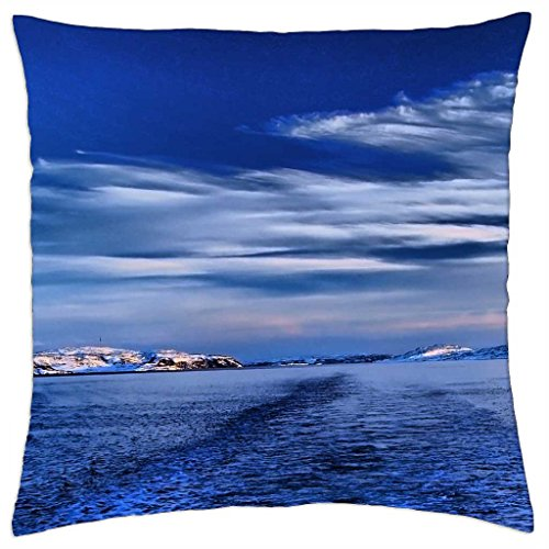 """fantastic wake in a strait in winter - Throw Pillow Cover Case (18"""" x 18"""")"""