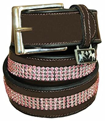 Equine Couture Bling Leather Belt 26 Havana