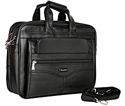Synthetic Leather Laptop Easies Black Executive Office Bag (Black)