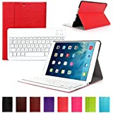 CoastaCloud Newly Elegant Design Look Fully Faux Leather Attached Smart Cover Case with Detachable Bluetooth Keyboard For iPad Air