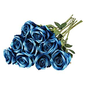 Buy pack of 9pcs artificial flannel rose flower bouquet for Artificial flowers for home decoration india