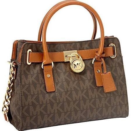 Michael Kors Ew Satchel Women'S Mk Logo Handbag Tote Purse Brown