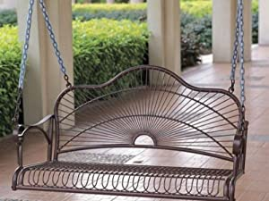 SUN RAY IRON PATIO or PORCH SWING in a BRONZE FINISH - PATIO FURNITURE from International Caravan