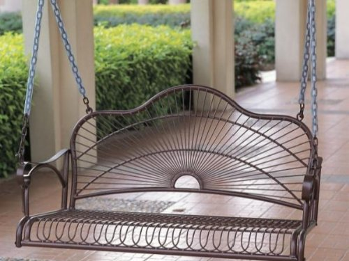 Black friday sun ray iron patio or porch swing in a bronze for Front porch furniture sale