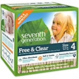 Seventh Generation Free and Clear, Unbleached Baby Diapers, Stage 4, 54 Count, Packaging May Vary