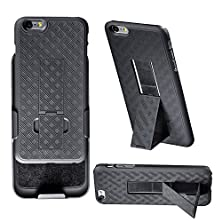buy Iphone 6 Plus Holster, Wizgear™ Shell Holster Combo Case For Apple Iphone 6 Plus 5.5 Inch Screen With Kick-Stand & Belt Clip - Fits At&T, Verizon, T-Mobile & Sprint - Black (Iphone 6 Plus 5.5 Inch)