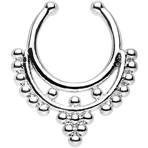 Oasis Plus Silver Beaded Collar Clip On Septum Fake Nose Ring Hoop Non Piercing Hanger Nose Rings Stud Body Jewelry by Oasis Plus