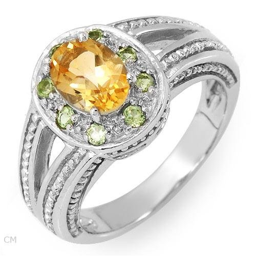 Genuine Citrine and Topazes Ring in Sterling silver. Size 8