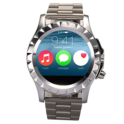 iRulu Smart Watch, iRULU Bluetooth 3.0 Unisex Smart Watches HD Touch Screen Wrist Watch with Heart Rate Monitor Pedometer 1.3MP Camera for Android Smart Phones - Silver Steel