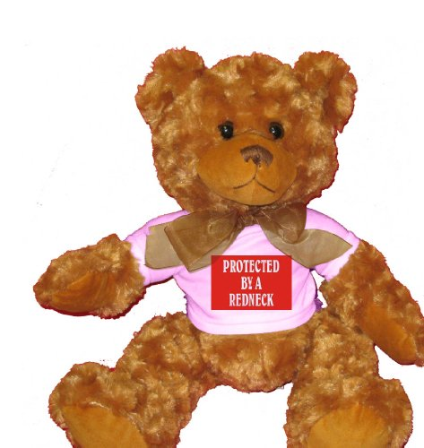 PROTECTED BY A REDNECK Plush Teddy Bear  WHITE