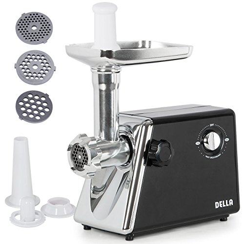 Della© Stainless Steel Electric Meat Grinder Kubbe Attachment w/ 3 Blade, 1300W, #5