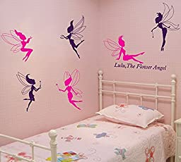 Amaonm® Removable DIY Colorful Flower Fairy Angel Pattern Wall Stickers Creative Clothing Dance Studio Decor Decals Nursery Children\'s Room Bedroom Living Room Home Decoration