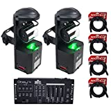 (2) American DJ ADJ Inno Pocket Roll Mirror Scanner Lights+DMX Controller+Cables